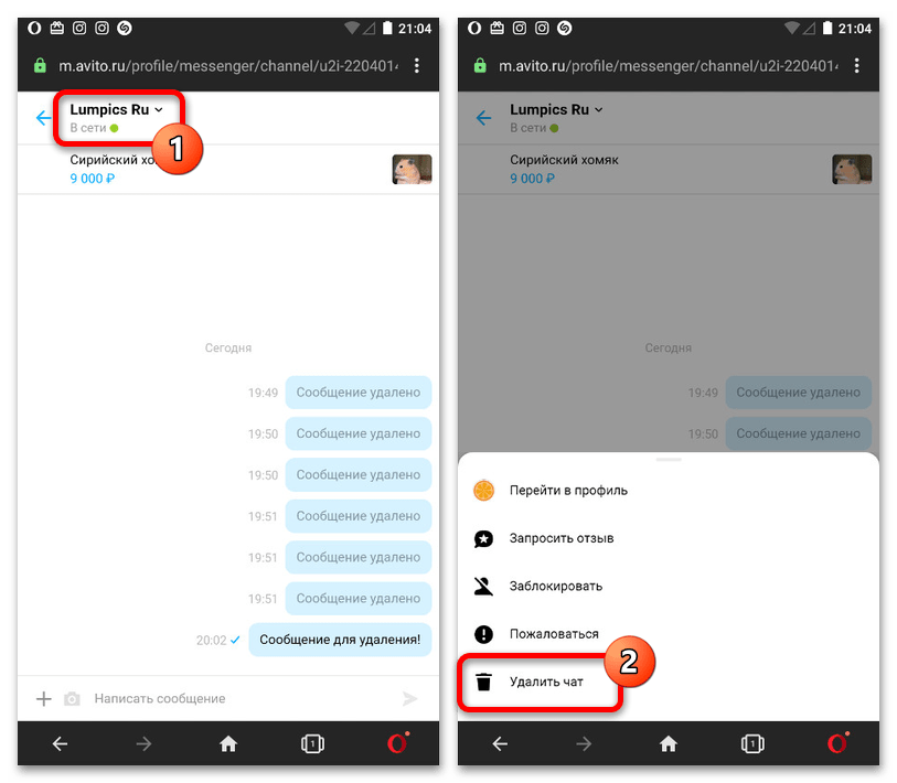 Как удалить сообщения на Авито с телефона_009
