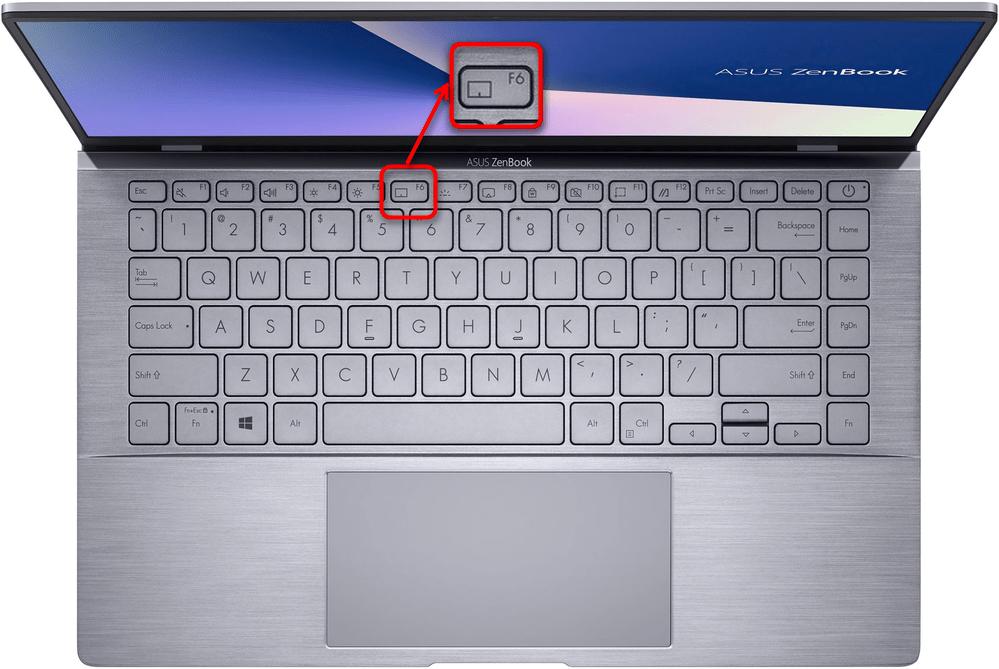 Включение скринпэда горячей клавишей на ноутбуке ASUS