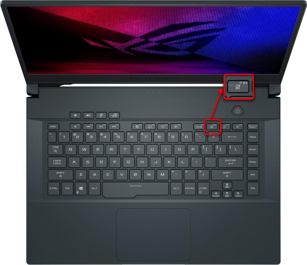 Включение тачпада горячей клавишей на игровом ноутбуке ASUS