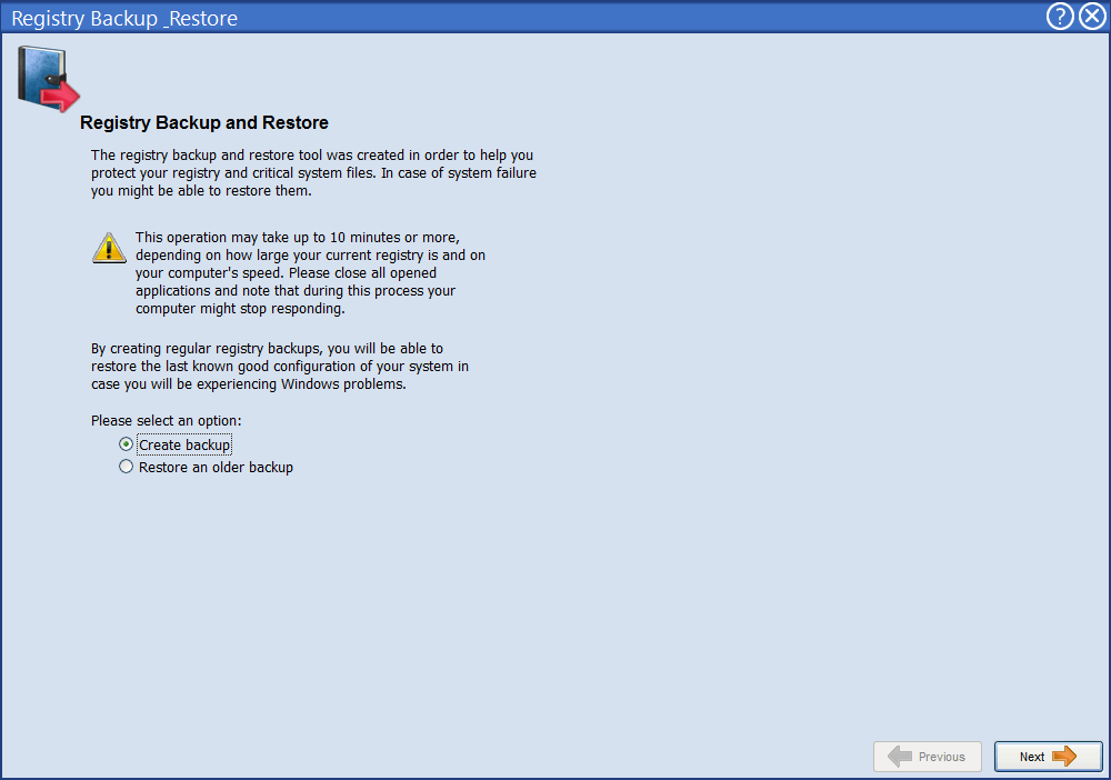 Создание резервной копии реестра и проведение восстановления в Advanced Uninstaller Pro