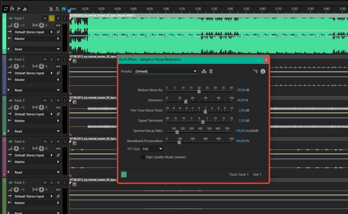 устранение шума и помех в Adobe Audition