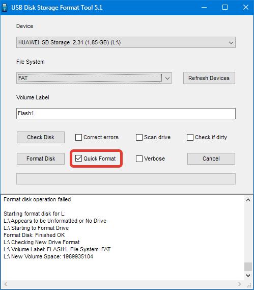 Быстрое форматирование в HP USB Disk Storage Format Tool