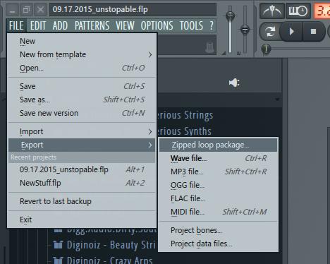 Экспорт файлов в FL Studio
