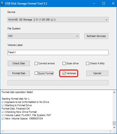 Многопроходное форматирование в HP USB Disk Storage Format Tool