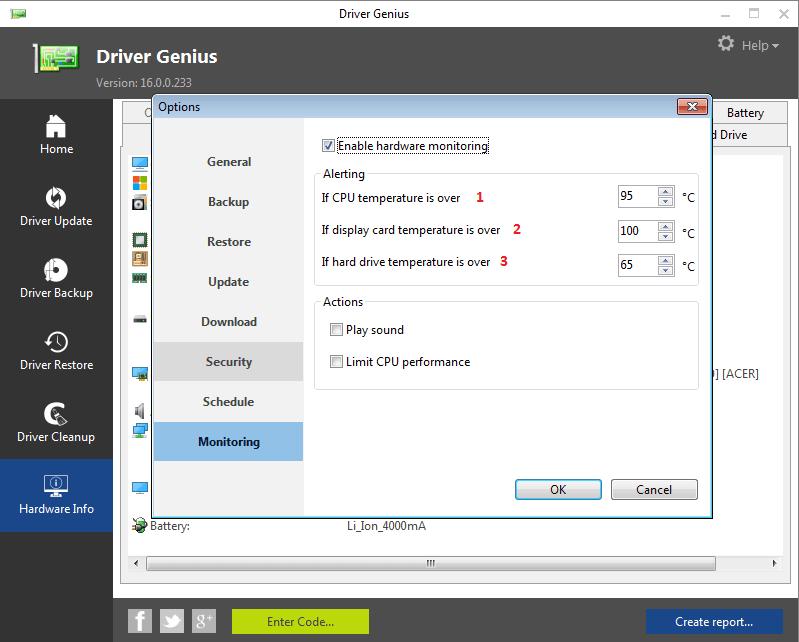 Мониторинг в Driver Genius