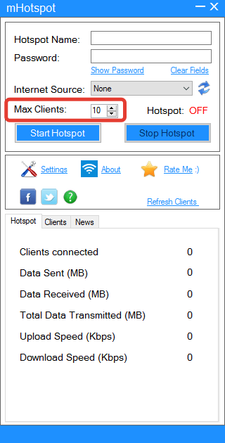 Назначение максимального числа подключений в mHotspot
