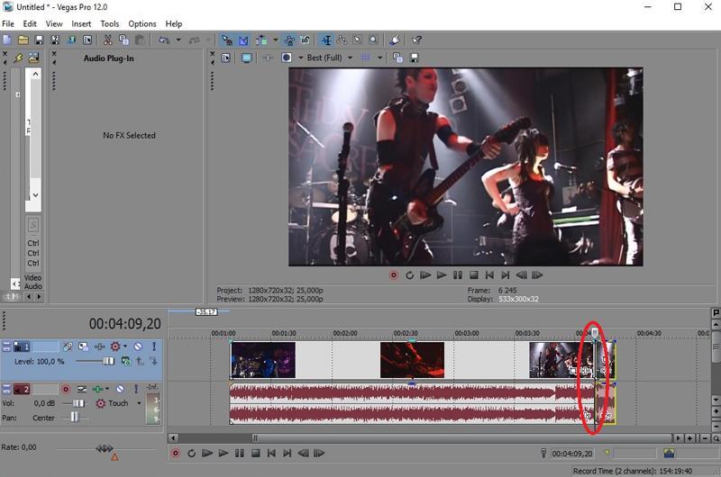 Обрезка конца видео в Сони Вегас Про