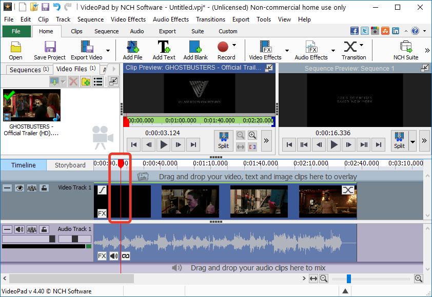 Обрезка видео в VideoPad Video Editor