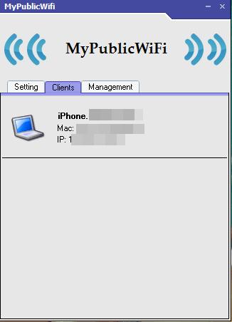 Отображение информации о подключенных устройствах в MyPublicWiFi