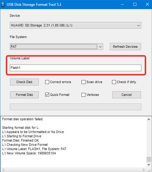 Переименование накопителя в HP USB Disk Storage Format Tool (2)