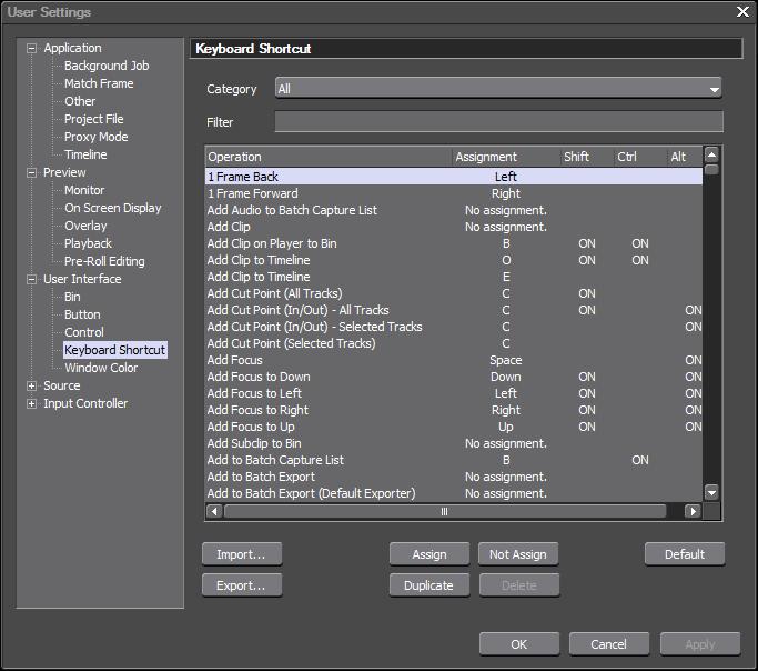 Поддержка горячих клавиш в EDIUS Pro