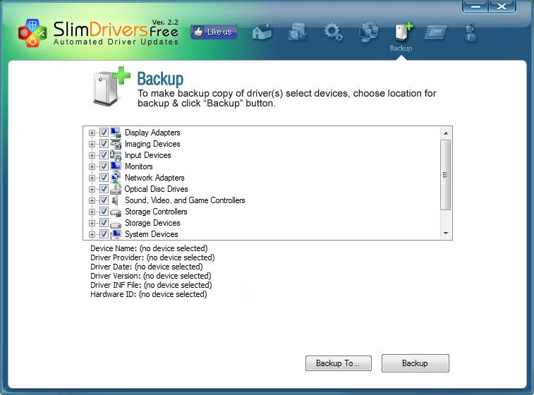 Создание резервной копии в SlimDrivers (2)