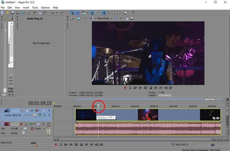 Установка курсора на точке обрезки видео в Сони Вегас Про