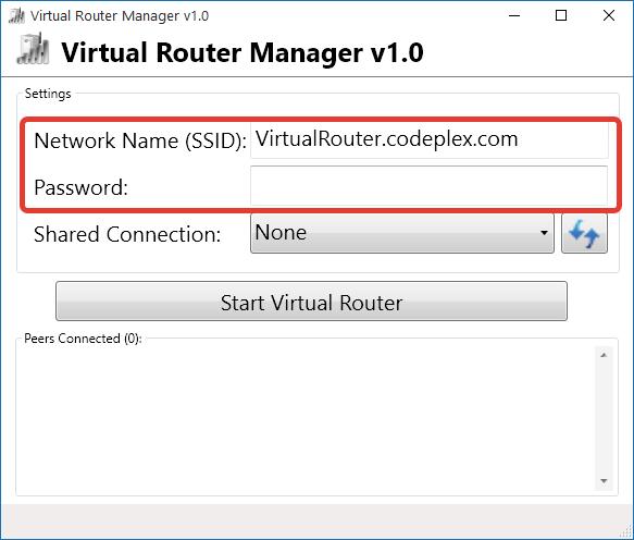 Установка логина и пароля в Virtual Router Manager