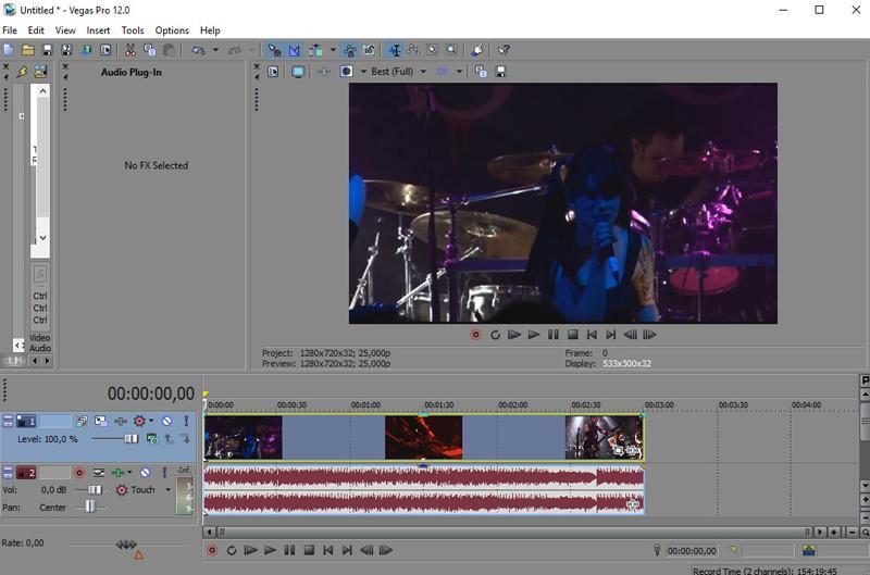 Видео в левой части таймлайна в Сони Вегас Про