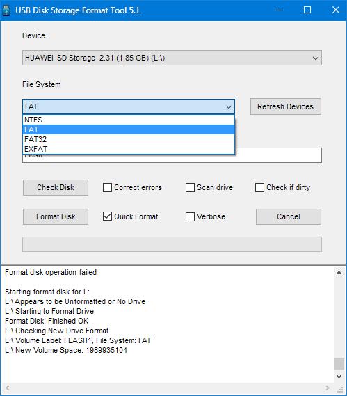 Выбор файловой системы в HP USB Disk Storage Format Tool