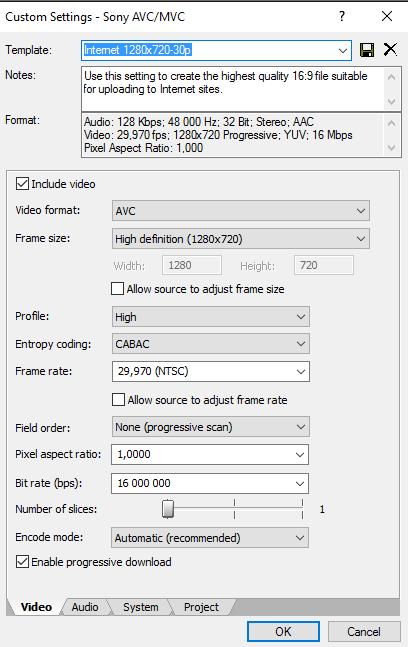 Выбор параметров сохранения видео в Сони Вегас Про