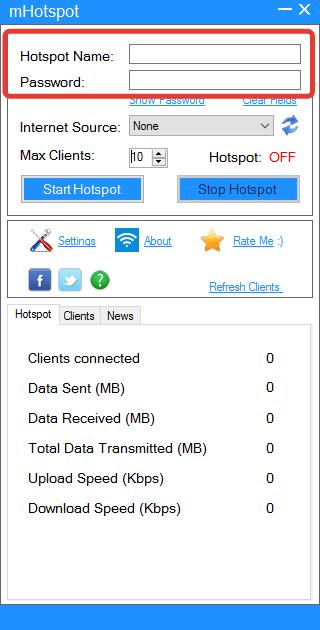 Задание логина и пароля в mHotspot
