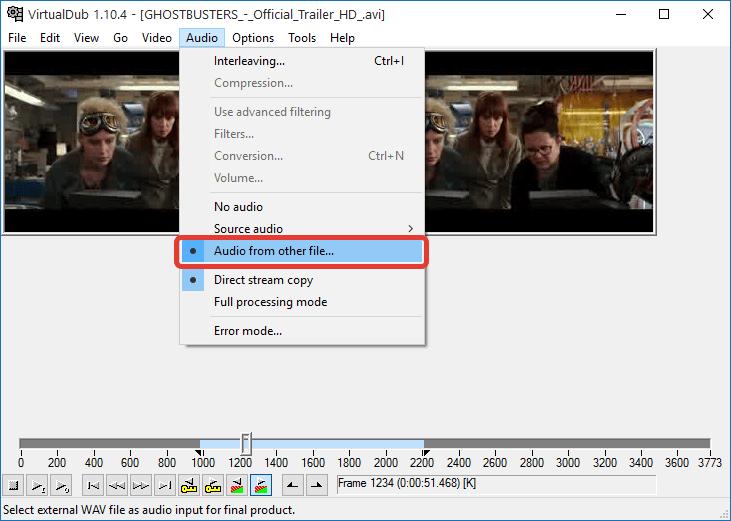 Замена звуковой дорожки в VirtualDub