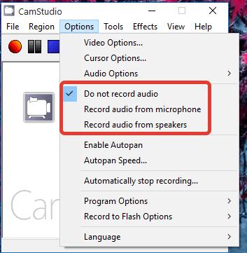 Запись аудио в CamStudio