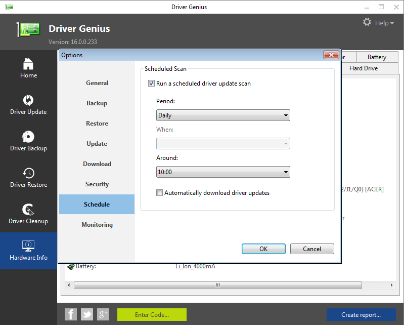 Запланированное сканирование в Driver Genius
