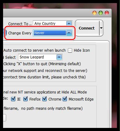 Автоматическая смена IP-адреса в Hide All IP