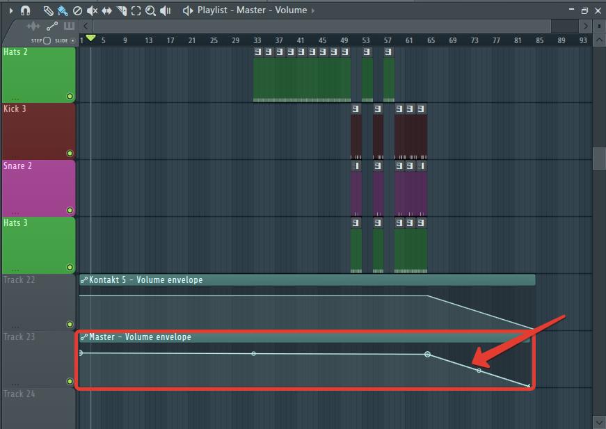Автоматизация затухания трека в FL Studio
