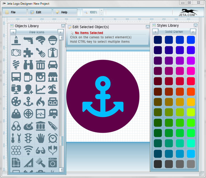 Библиотечные элементы в Jeta logo Designer