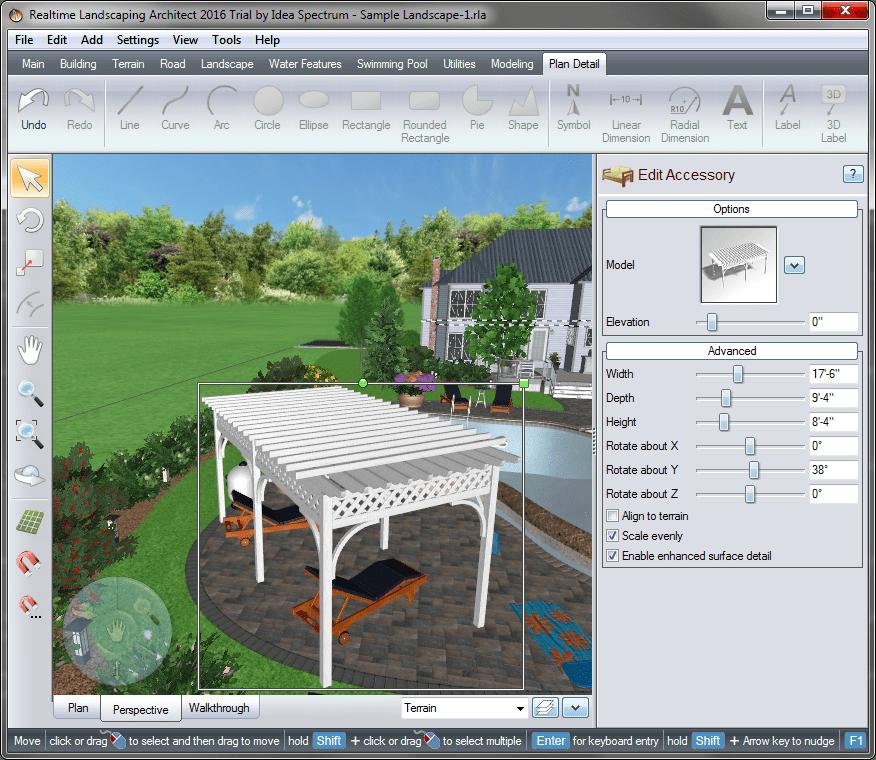 Библиотечный навес в Realtime Landscaping Architect