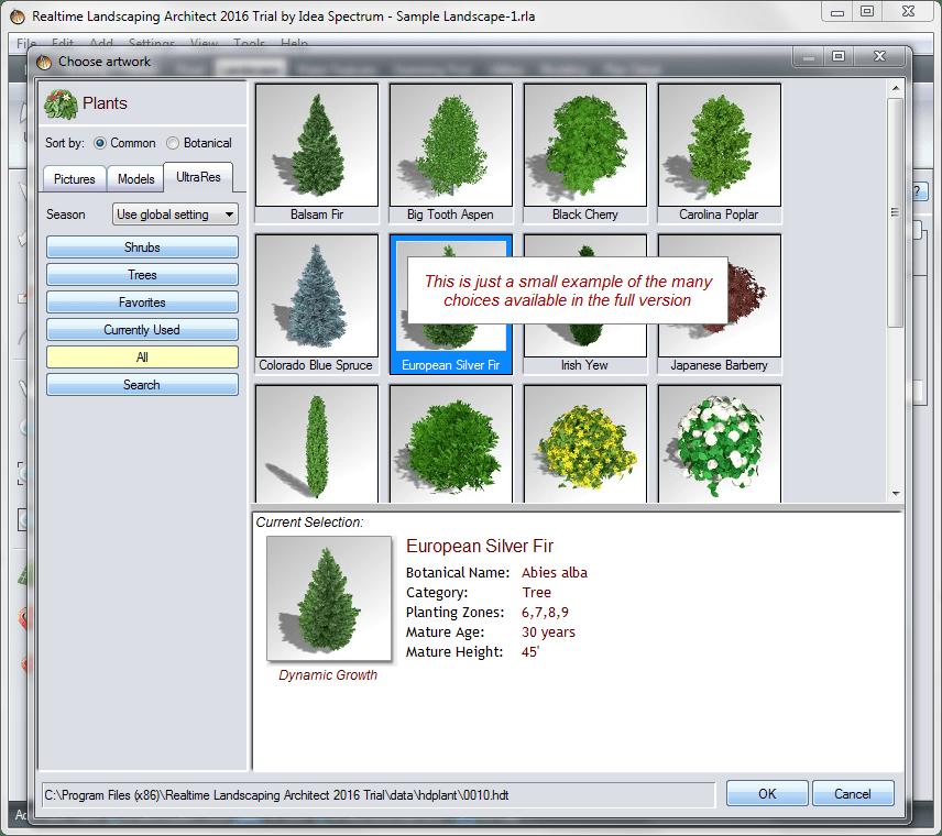 Библиотека растительности в Realtime Landscaping Architect