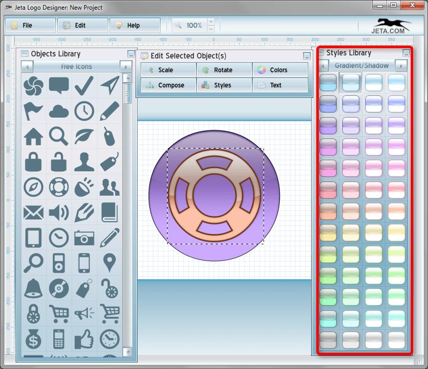 Библиотека стилей в Jeta logo Designer
