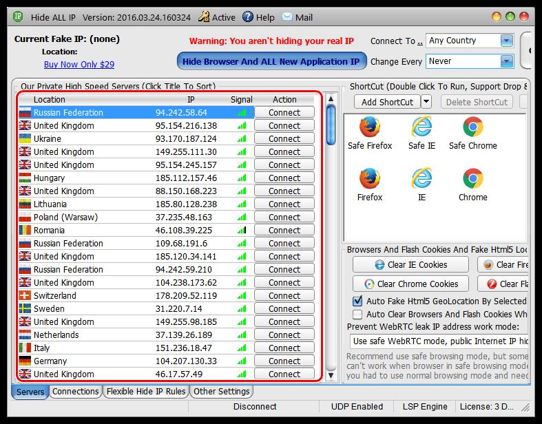 Большой список доступных серверов в Hide All IP