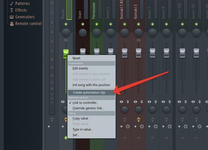 Create Automation Clip в FL Studio
