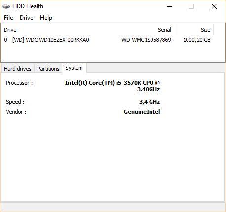Данные о системе HDD Health