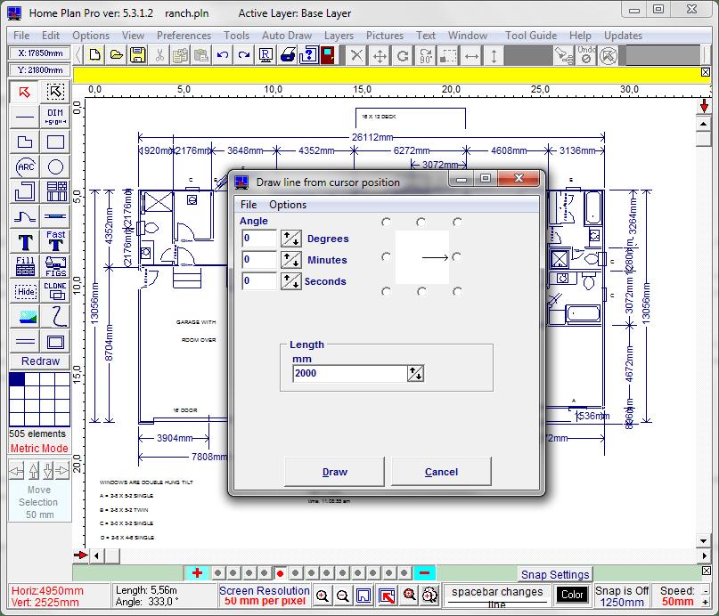 Диалоговое окно автоматического черчения в Home Plane Pro