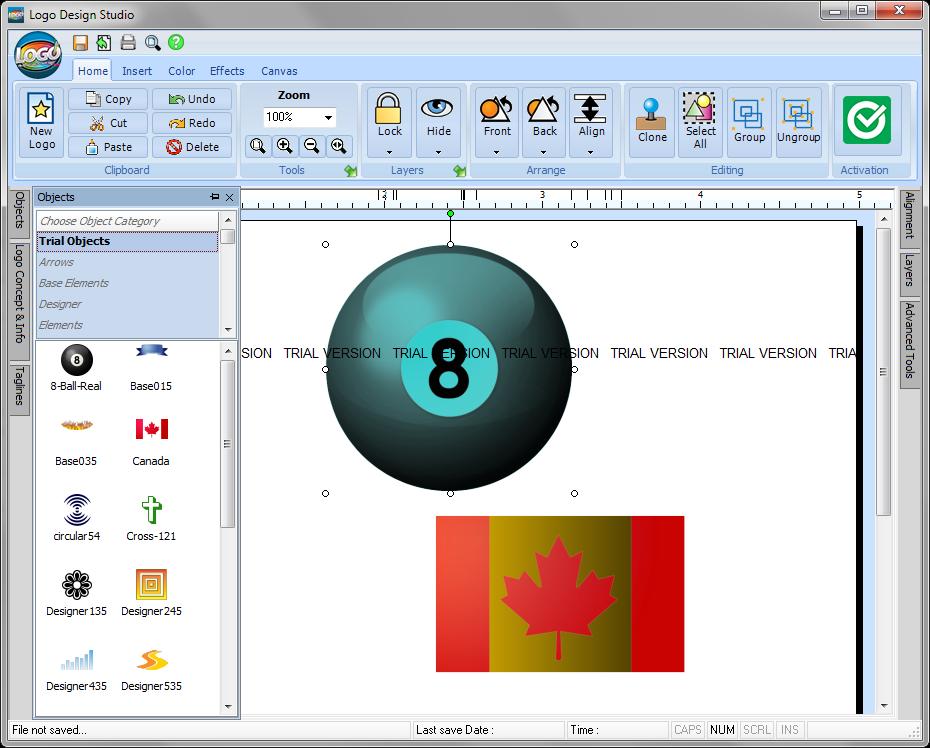 Добавление библиотечного элемента в Logo Design Studio
