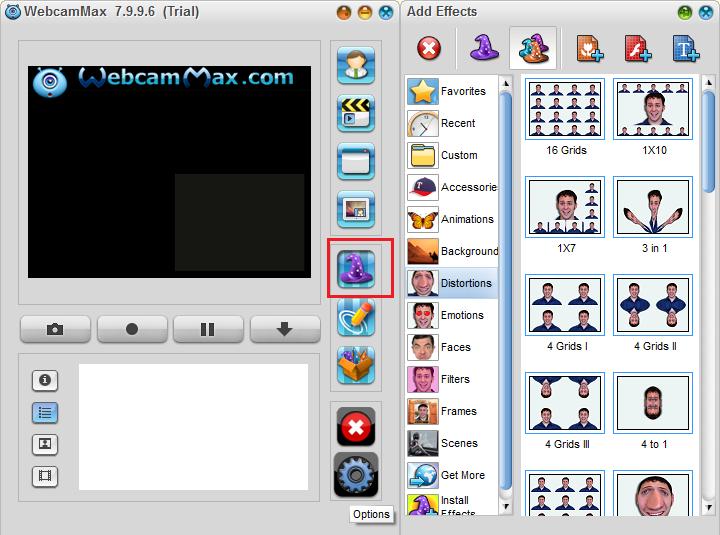 Добавление эффектов в WebcamMax