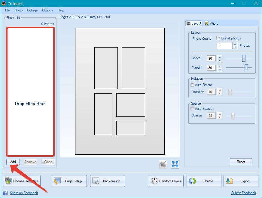 Добавление графических файлов в CollageIt