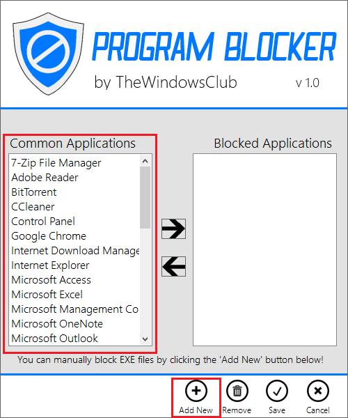 Добавление в список блокированных в Program Blocker