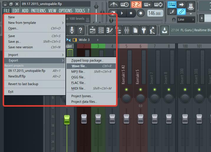 Экспорт музыкальной композиции в FL Studio