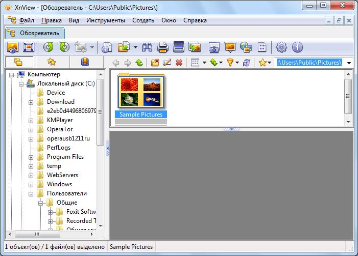 Файлоdый менеджер в XnView
