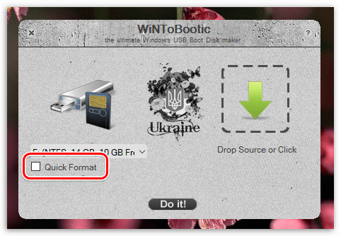 Форматирование USB-накопителя в WiNToBootic