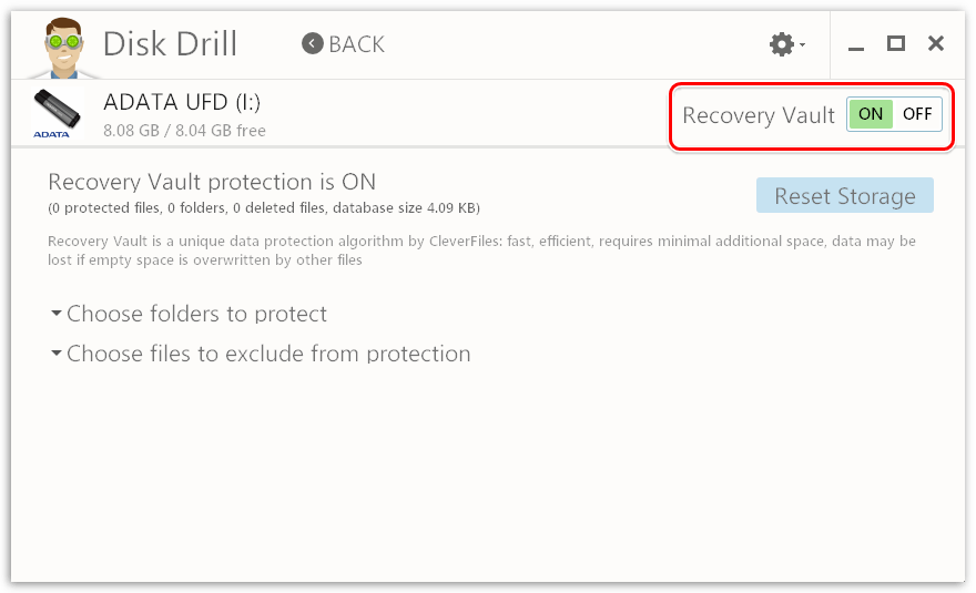 Функция защиты от утери информации в Disk Drill