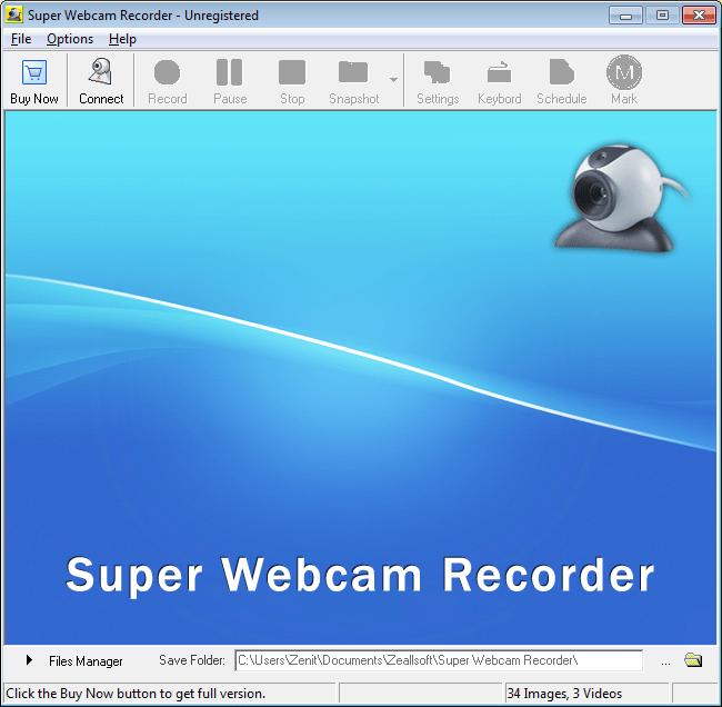 Главное окно Super Webcam Recorder в программах для записи с вебки