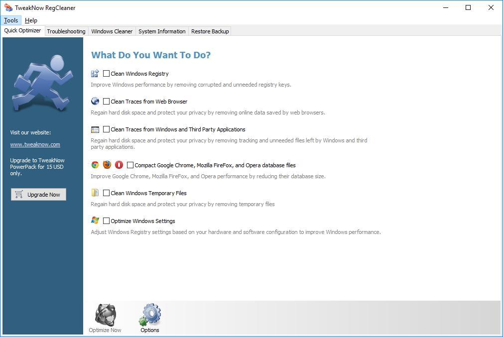 Главное окно TweakNow RegCleaner