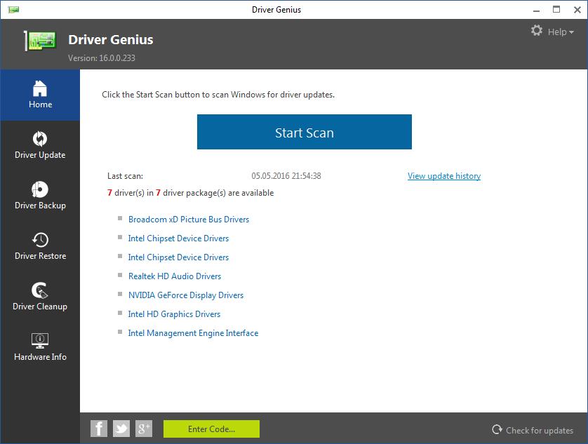 Главное окно в Driver Genius