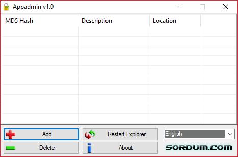 Главный экран AppAdmin для списка блокирующих программ