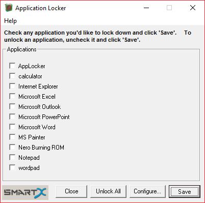 Главный экран AppLocker для списка блокирующих программ