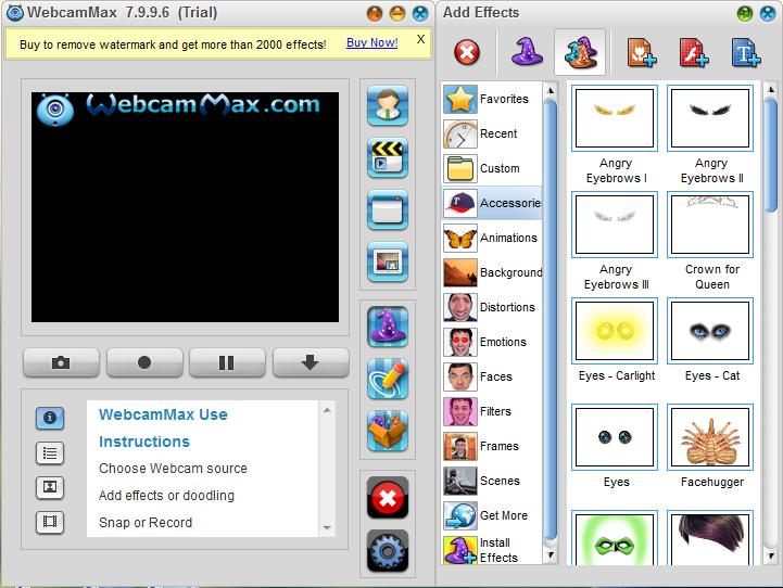 Главный экран WebcamMax для статьи Как записать видео с веб-камеры