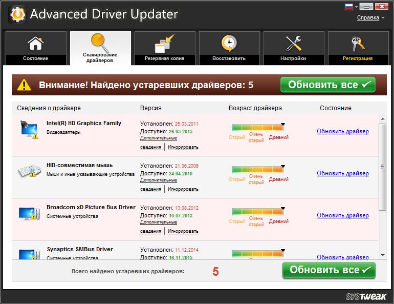 Главный экран в Advanced Driver Updater